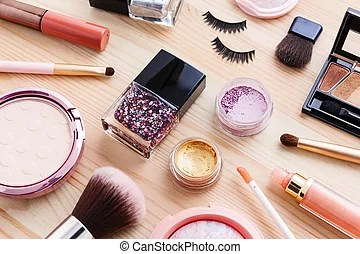Cosmetic Background Cosmetic Product With Makeup Powder
