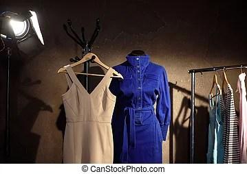 Siblings Standing In Same Light Dresses Full Length