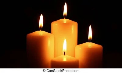 Beautiful Bright Burning Four Candle On Darkness Romantic