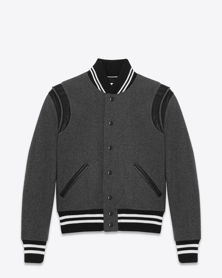 Saint Laurent Teddy Jacket In Grey Virgin Wool And Black