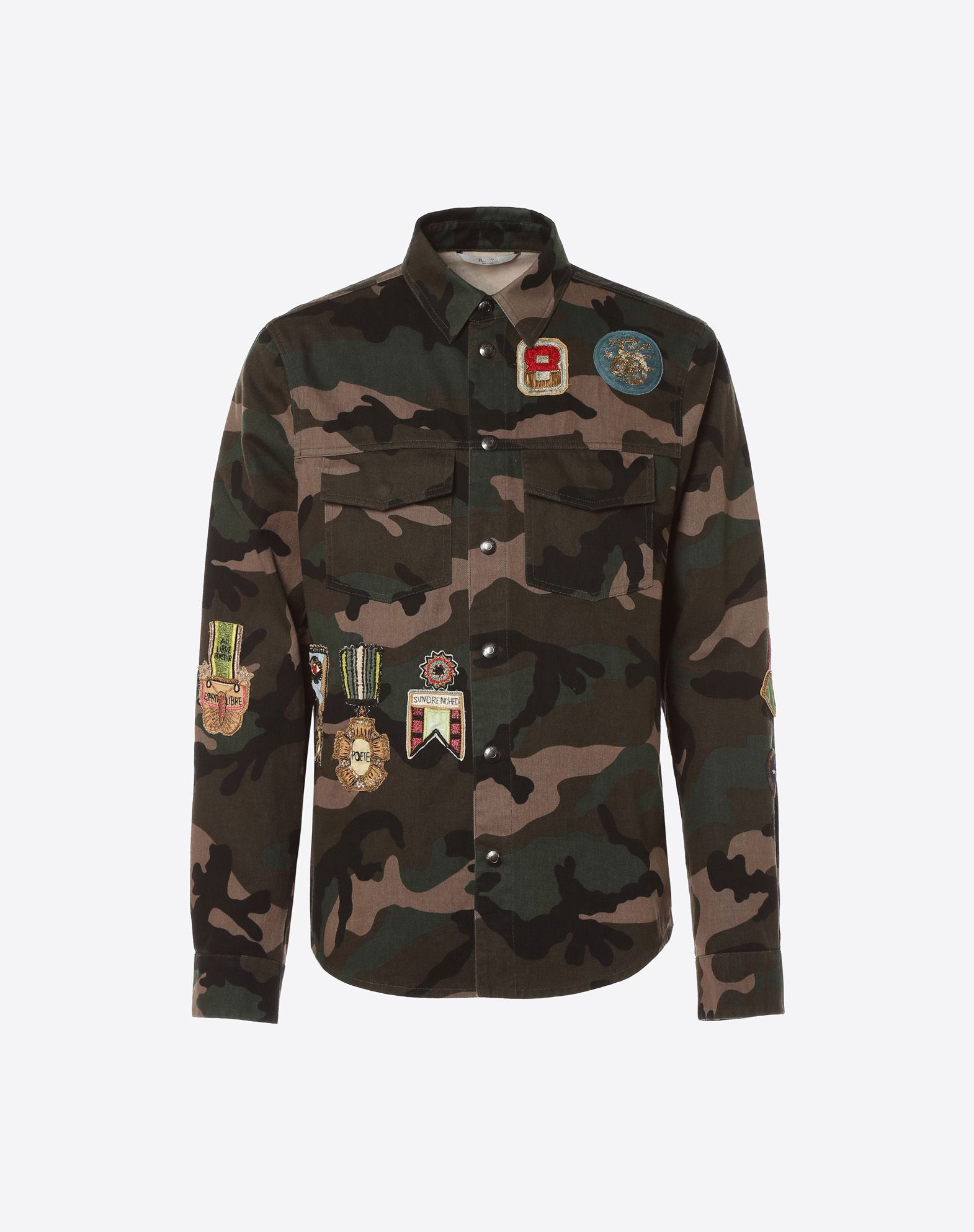 Libre Boutique Outerwear Shirt With Military Embroidery For Man Valentino