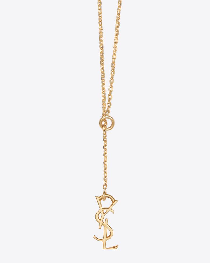 saint laurent monogram thin tie necklace in gold vermeil