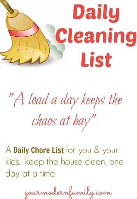 Daily cleaning list for you  for your kids - Your Modern Family - daily chore