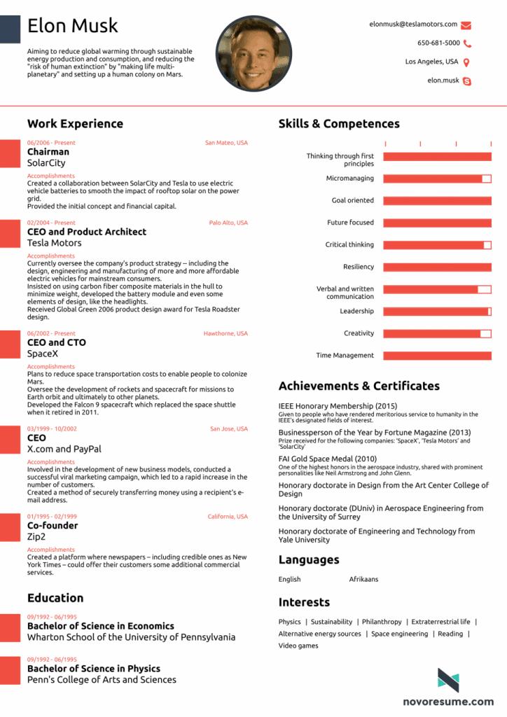 modern resume template elon musk