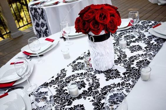 Decoration Mariage Chemin De Table ¡decoración De Boda En Negro, Rojo Y Blanco! - Foro
