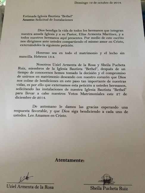 Carta solicitud de Iglesia Cristiana - Foro Ceremonia Nupcial
