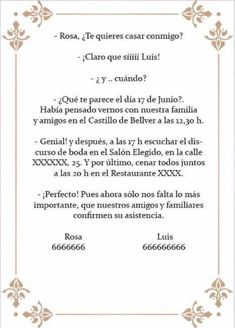 Texto original para invitaciones - Manualidades - Foro Bodasnet - formato para invitacion