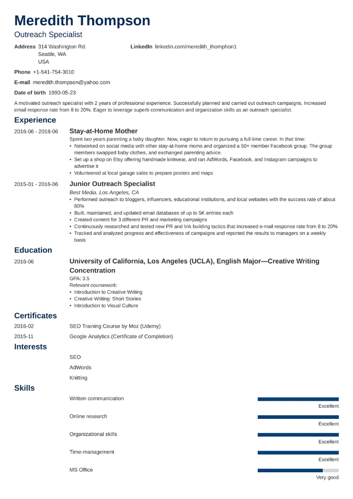 example of resume that lists volunteering