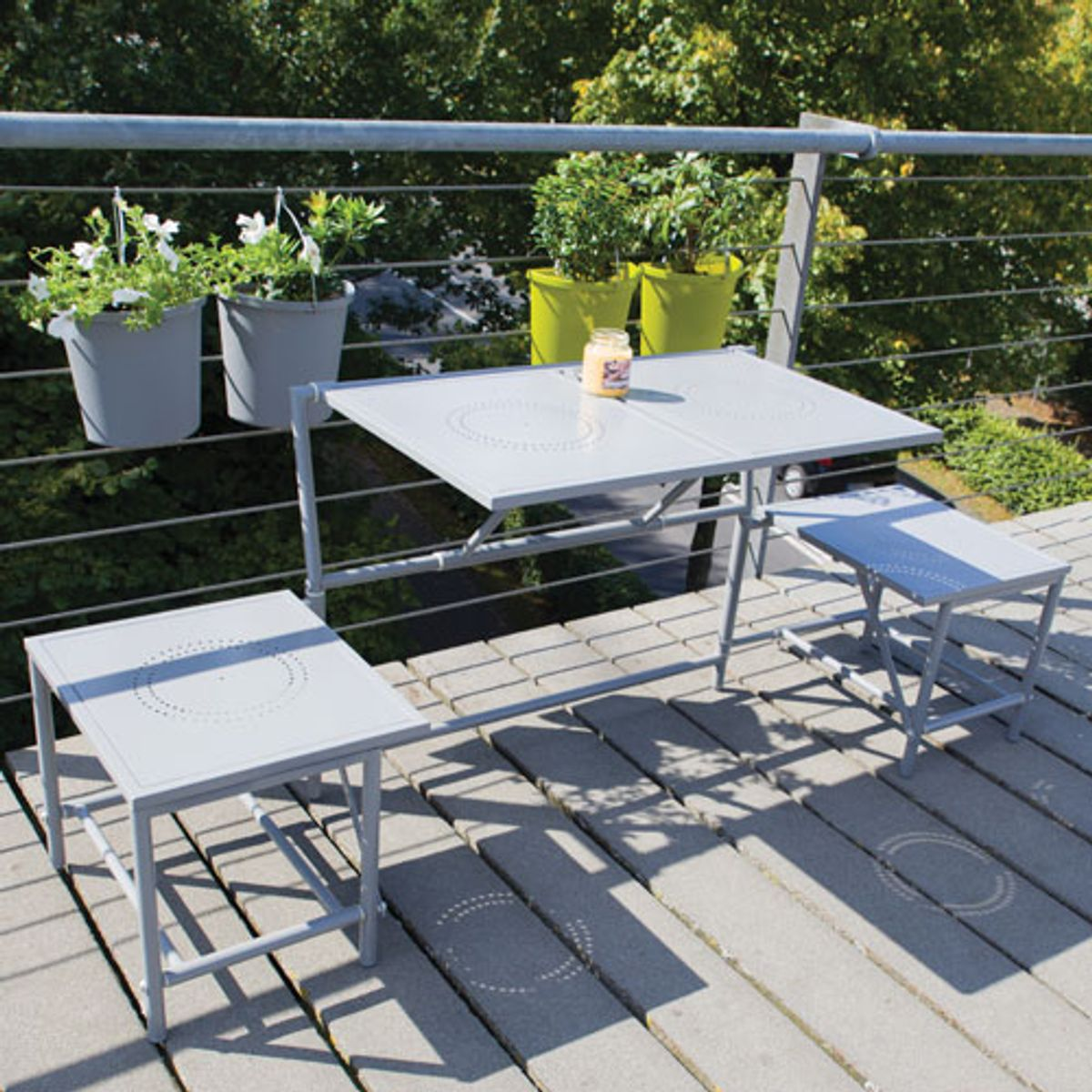 Table Jardin Balcon Salon 2 En 1 Table Banc Pliant Métal Pour Balcon