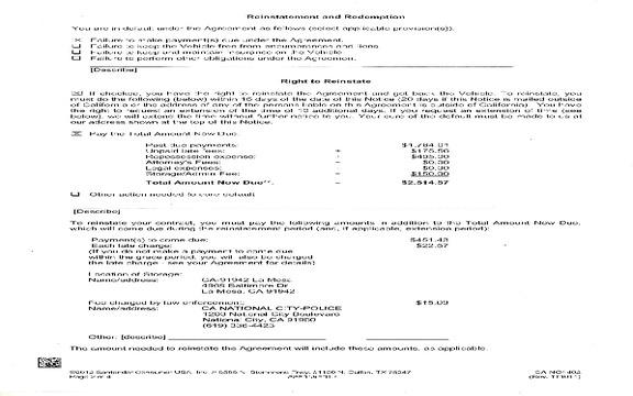 Santander Consumer Usa - Questionable reposses Sep 30, 2014 @ Pissed