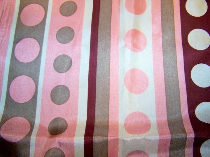 Pretty Vintage Rectangular Polka Dots and Stripes Silk Scarf SOLD