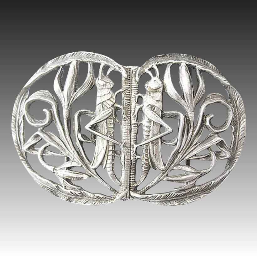 Relax Regensburg Art Nouveau Silver Belt Buckle From 1900 Marked 800 Moon