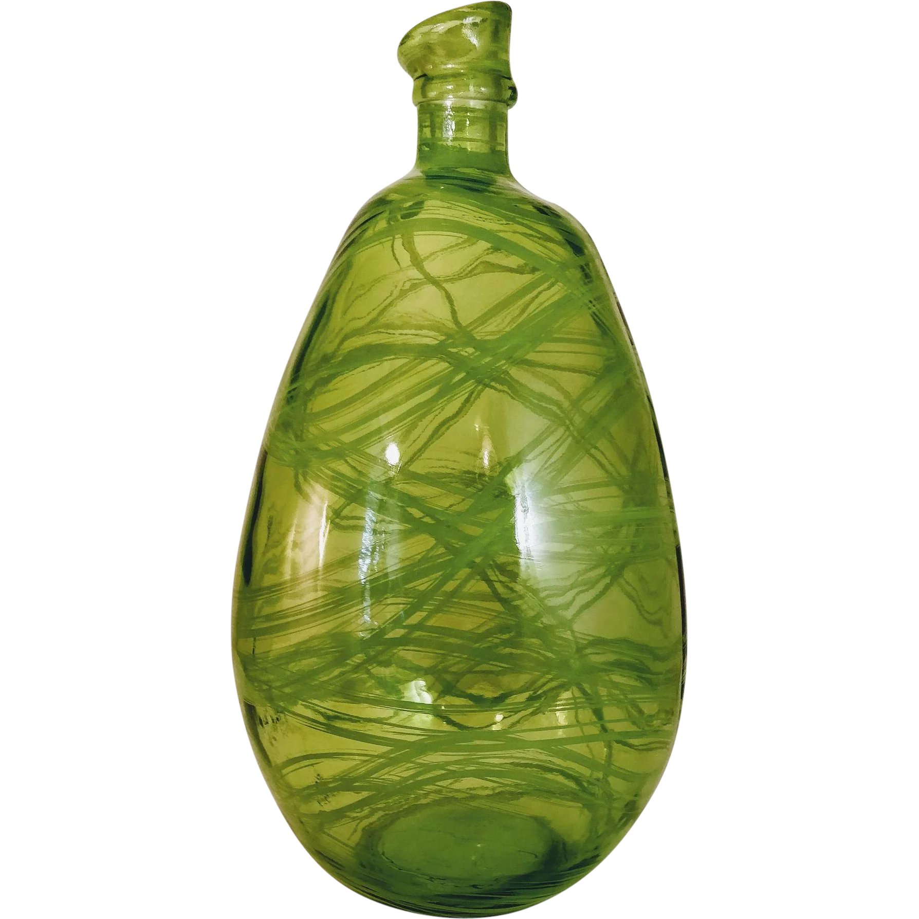 Glassware Vase Vintage Green Recycled Glass Vase Spain Bottle Jar Eco Friendly Spanish Glassware Over Sized