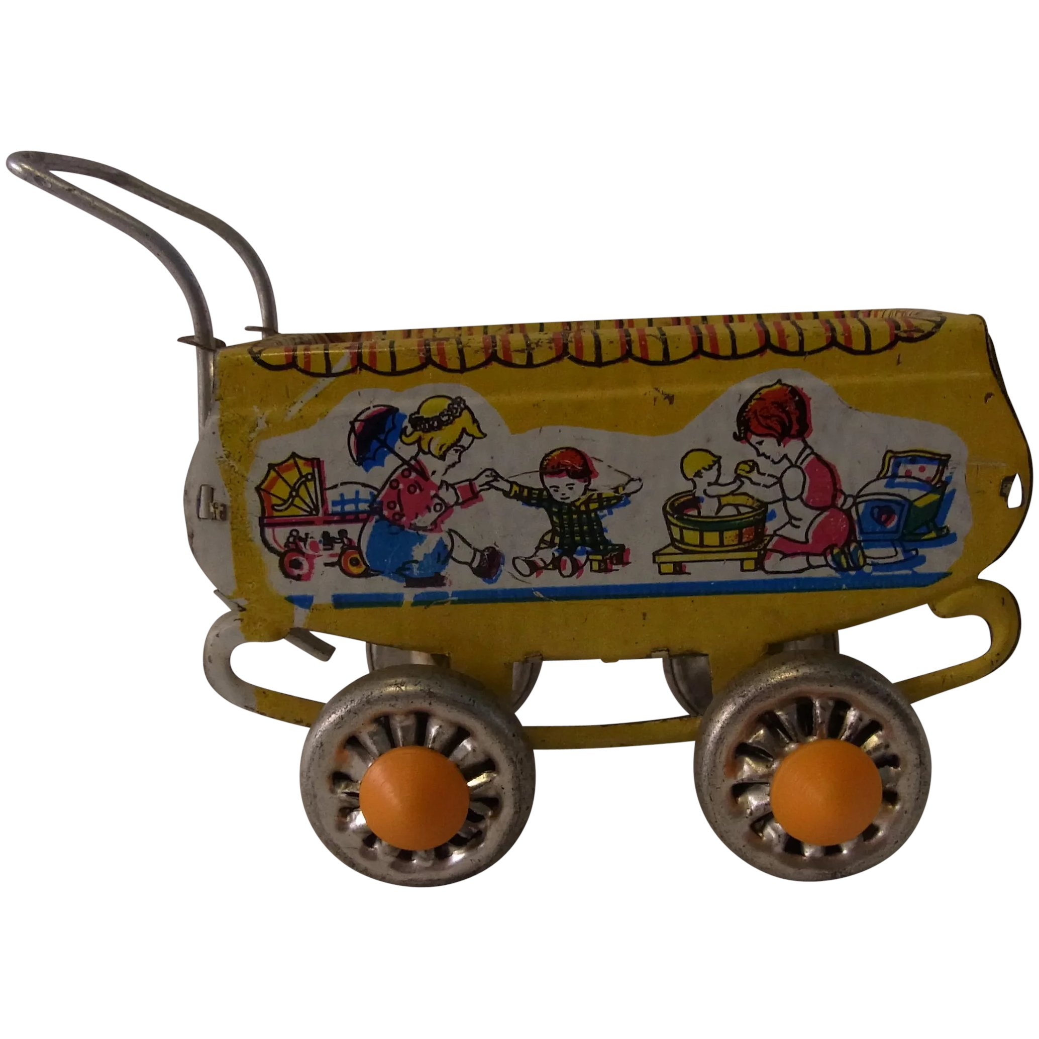 Vintage Toy Stroller Small Vintage Doll Stroller Tin Toy