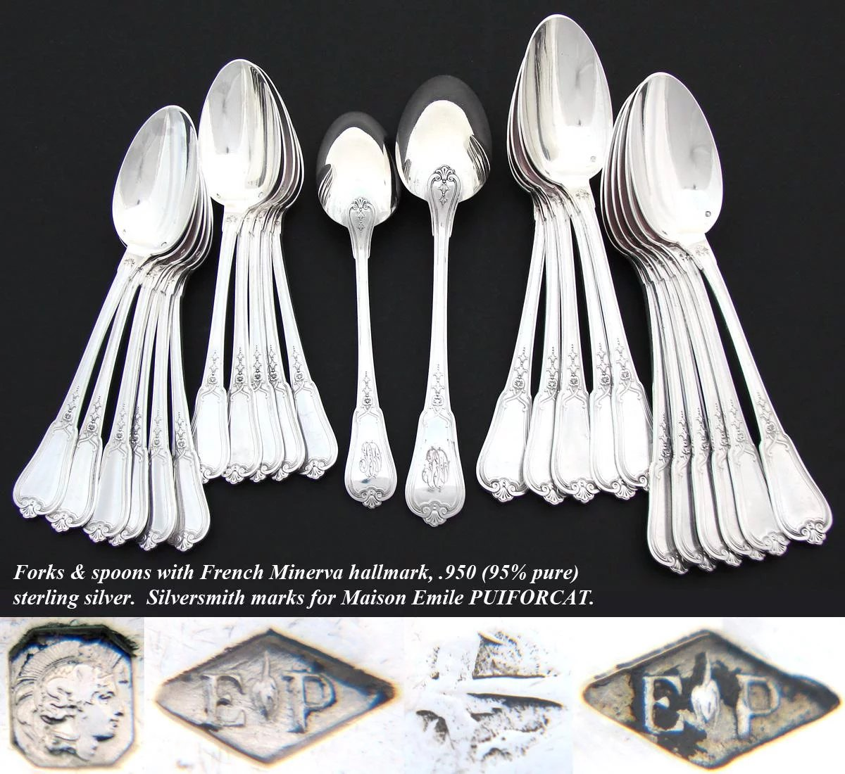 Elegant Flatware Sets Elegant Antique French Puiforcat Sterling Silver 71pc