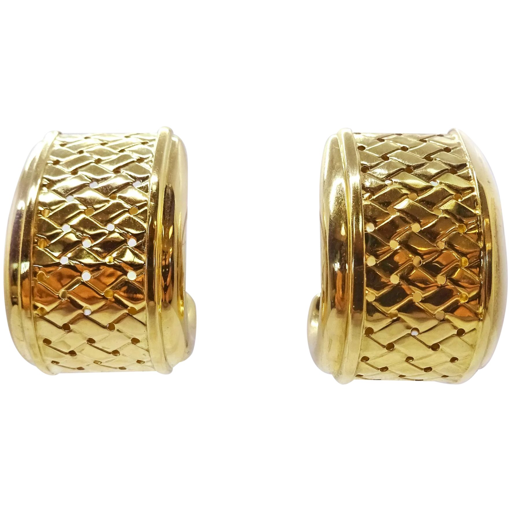 Italy Design Jewelry Estate Le Gi Italy 18k Solid Gold Woven Design Clip Earrings