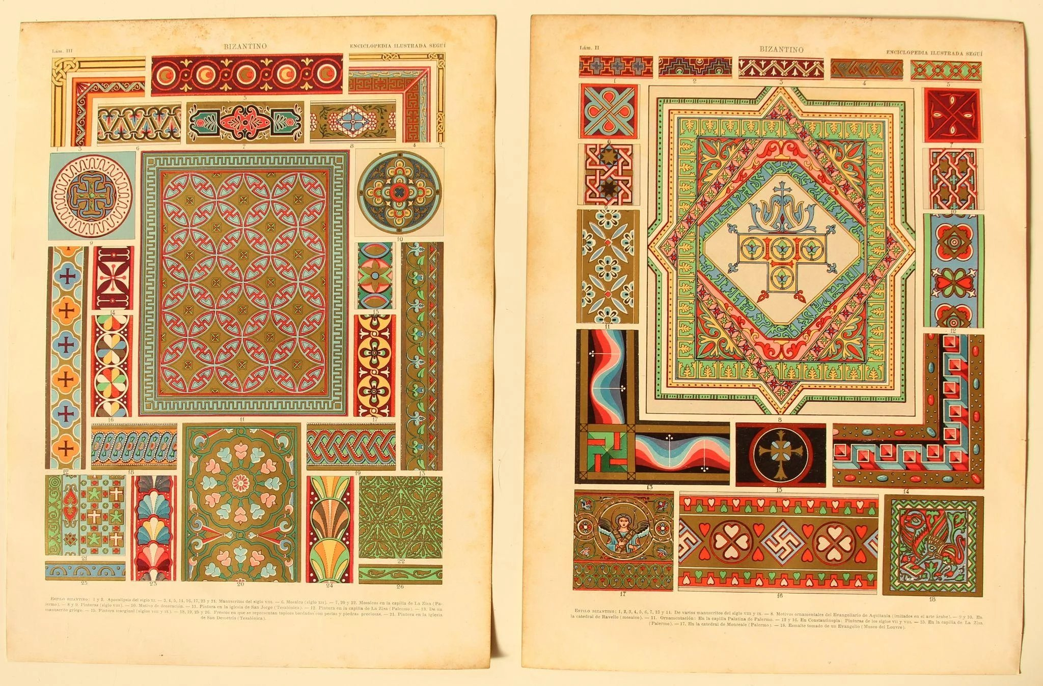 Art Nouveau Pintura Art Nouveau Set Of Two Prints Of Byzantine Patterns Architecture Art Objects 1900 S Polychrome Metallic Lithograph