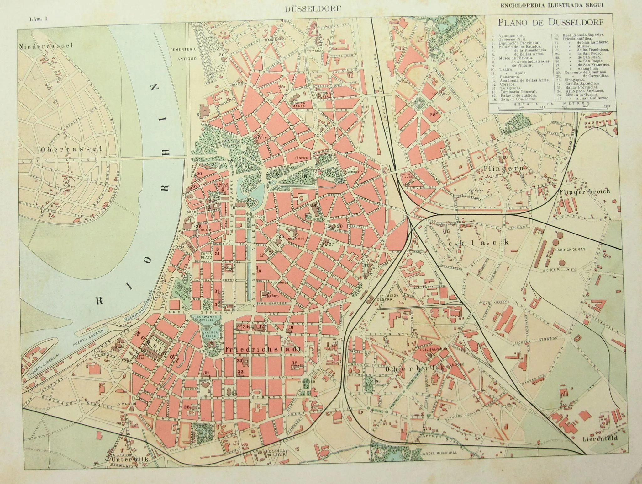 Art Nouveau Pintura Art Nouveau Map Of Düsseldorf Including Train Lines Photos Of Sights 1900 S Polychrome Lithograph