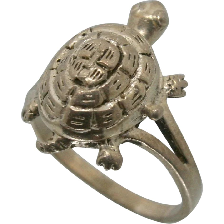 Turtle Door Knocker Sterling Silver Turtle Poison Ring Ecexchange Ruby Lane