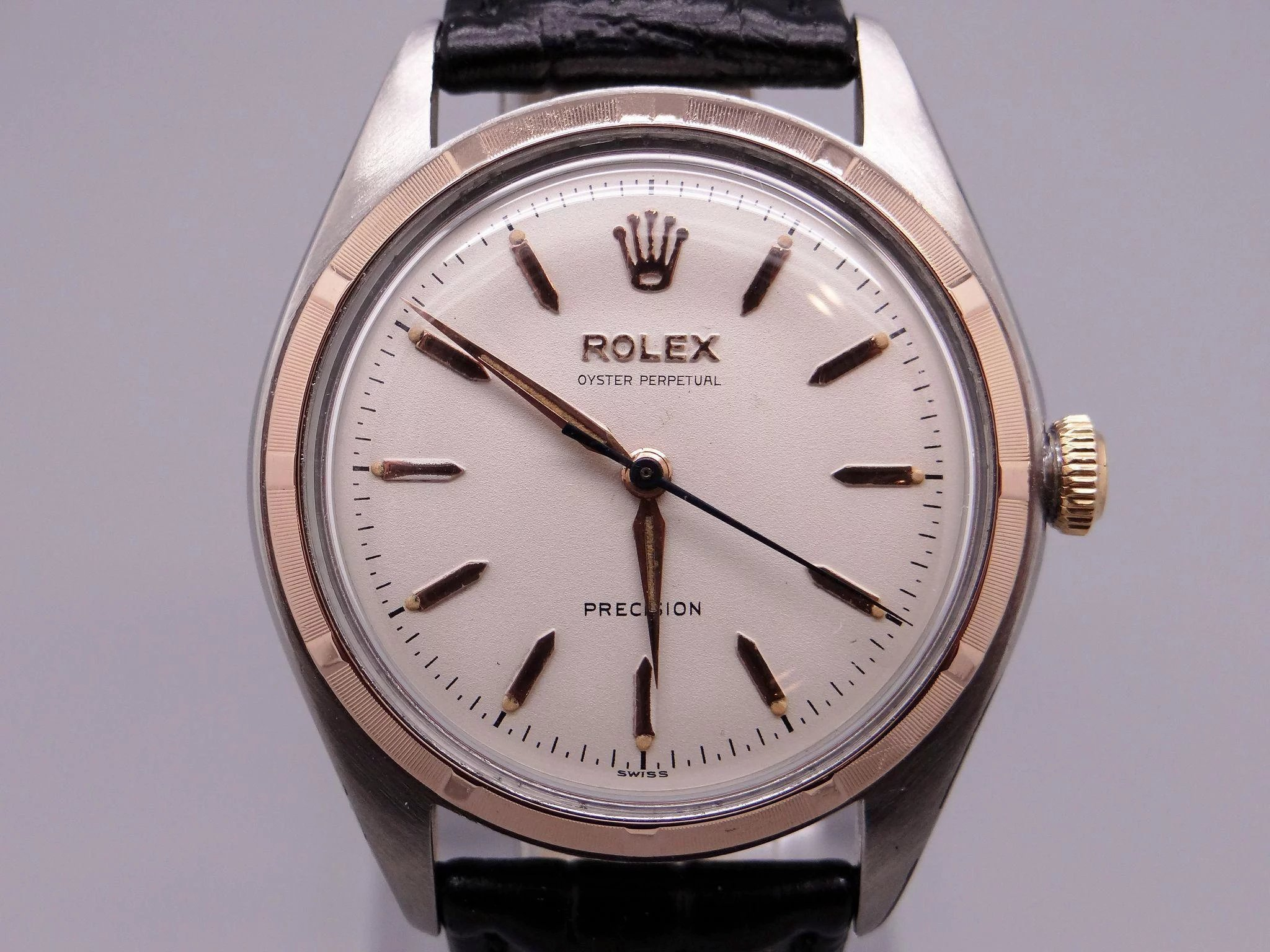 Rolex Oyster Perpetual Rose Gold Rare 1949 Vintage Rolex Oyster Perpetual Big Bubble Steel Rose Gold Watch 5029