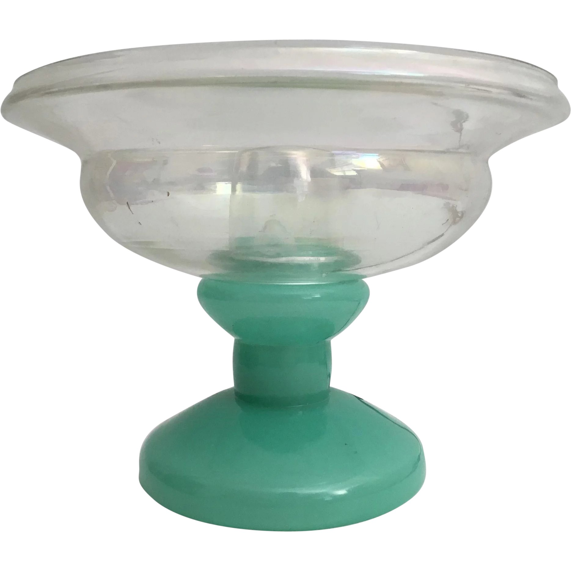 Glass Lamp Bowl Stunning Czech Green Glass Lamp With A Fitted Clear Iridescent Glass Bowl Good Safe Wiring