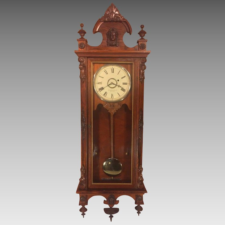 Antique Gilbert Regulator No 3 Wall Clock 1870s Rosewood Case Time