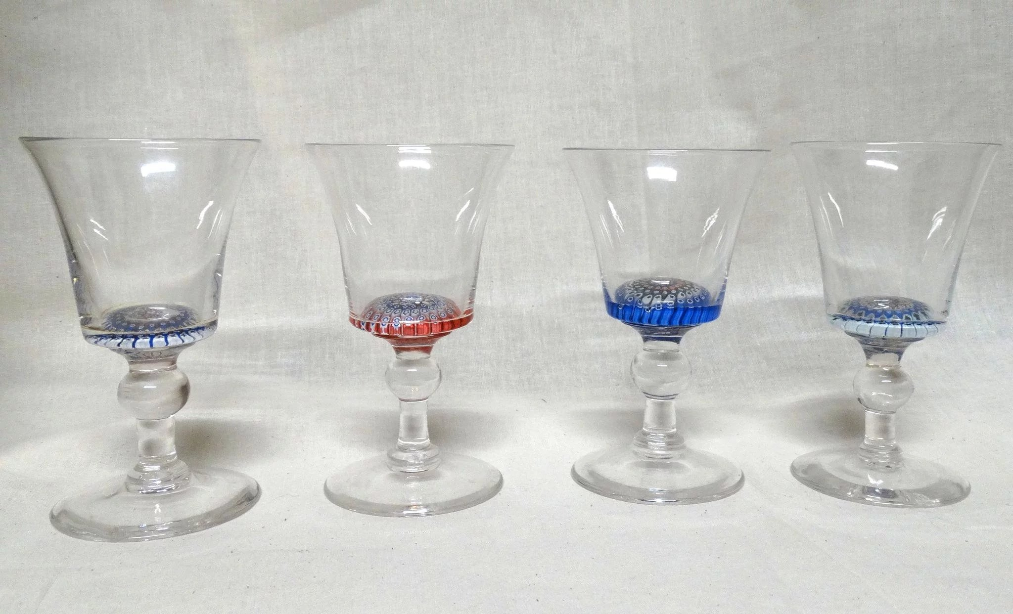 Farmhouse Drinking Glasses Four Antique Whitefriars Concentric Millefiori Crystal