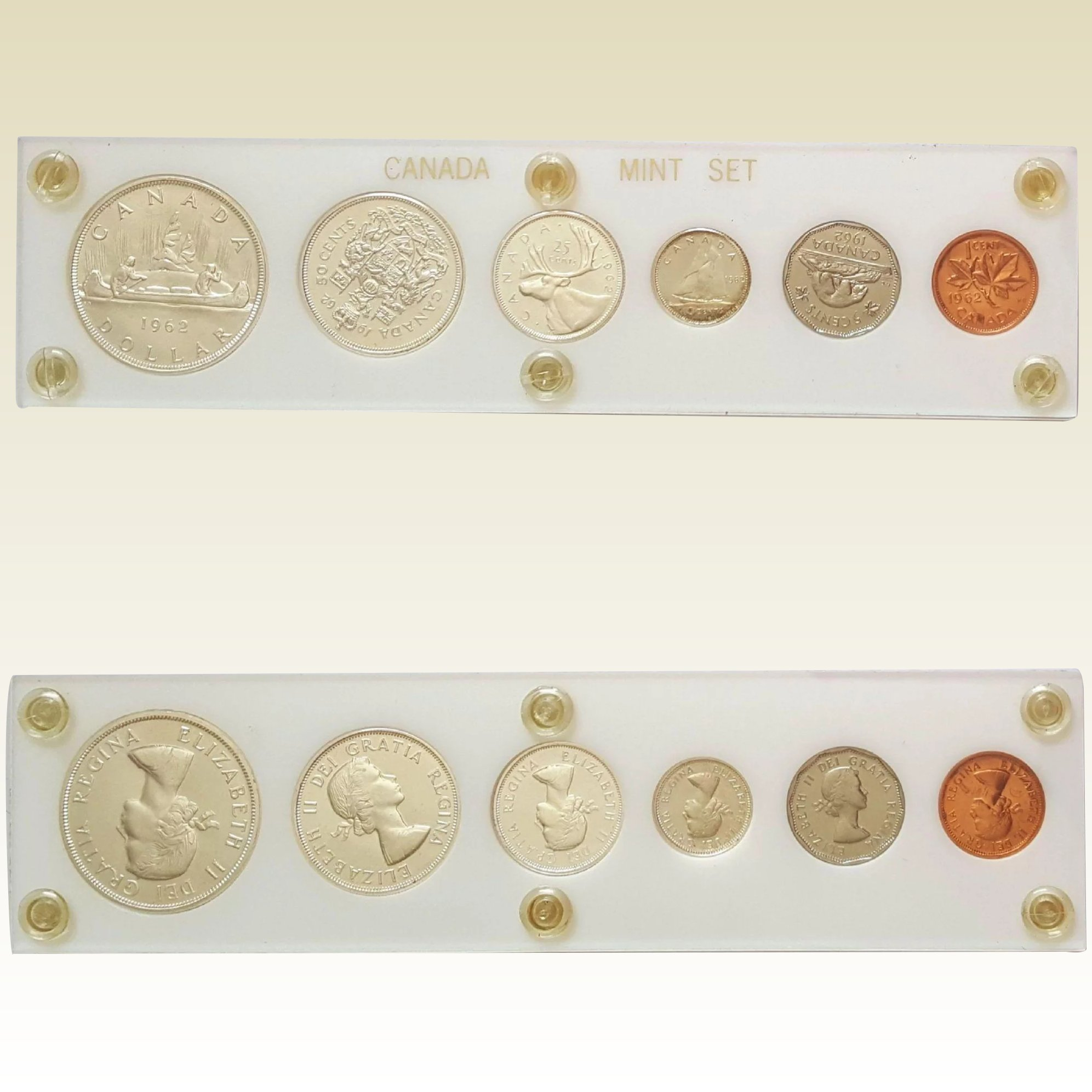 Mint Set 1962 Canadian Mint Set Encapsulated Coin Currency
