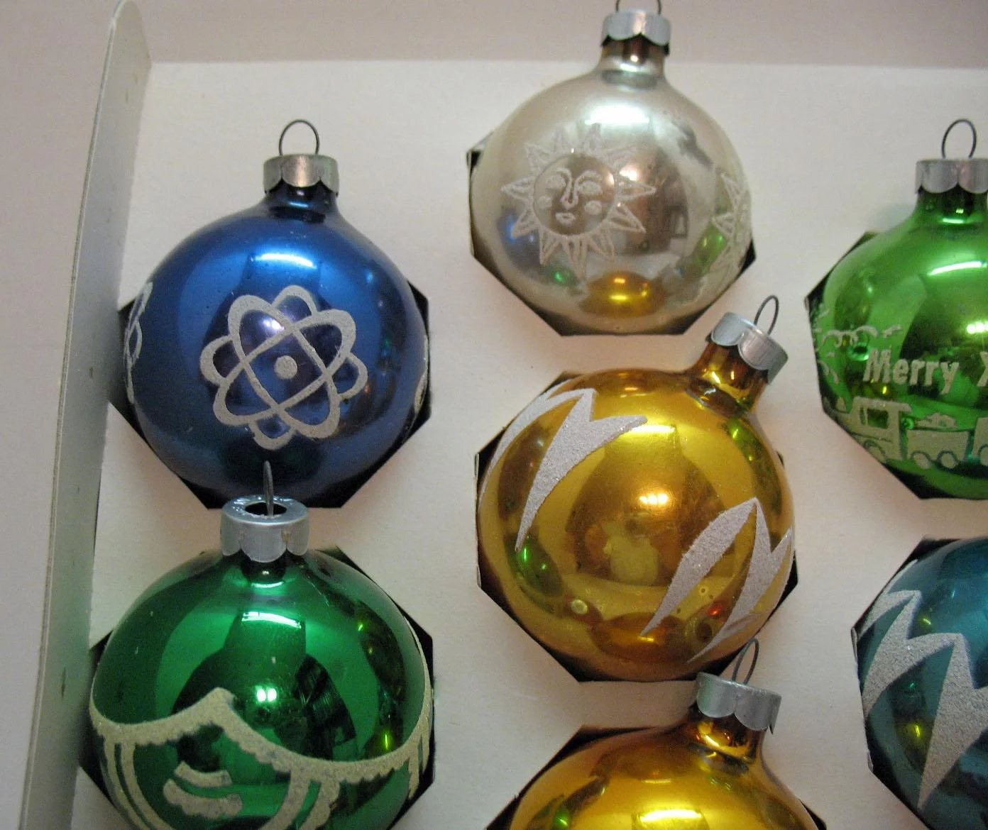 10 Vintage Christmas Tree Glass Ornaments By Noelle Usa