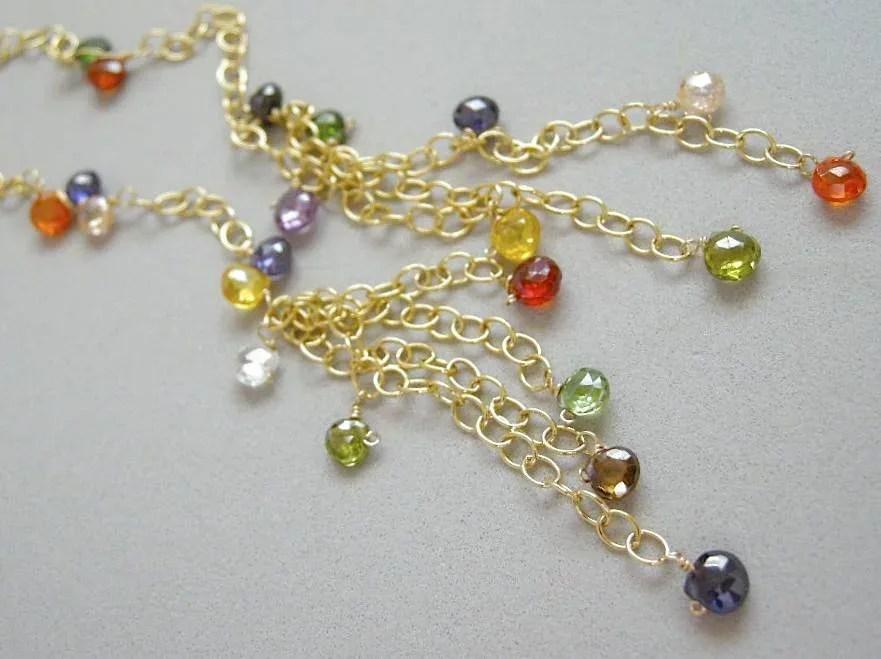 Long Lariat Necklace Jewel Colors Cz Tassels Gold Filled