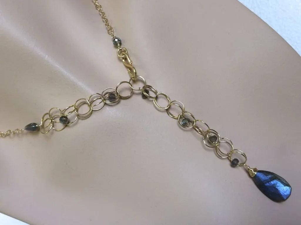 Labradorite Necklace Long Gold Filled Necklace Camp