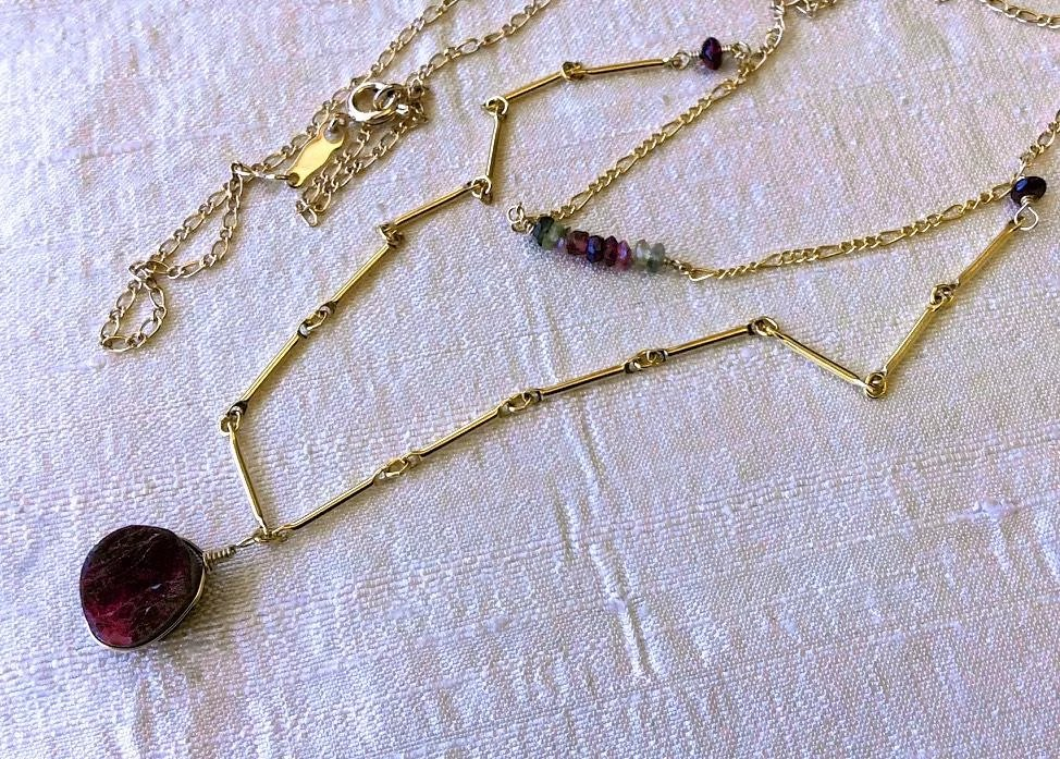 Tourmaline Necklace Gold Necklace Two Strand Necklace