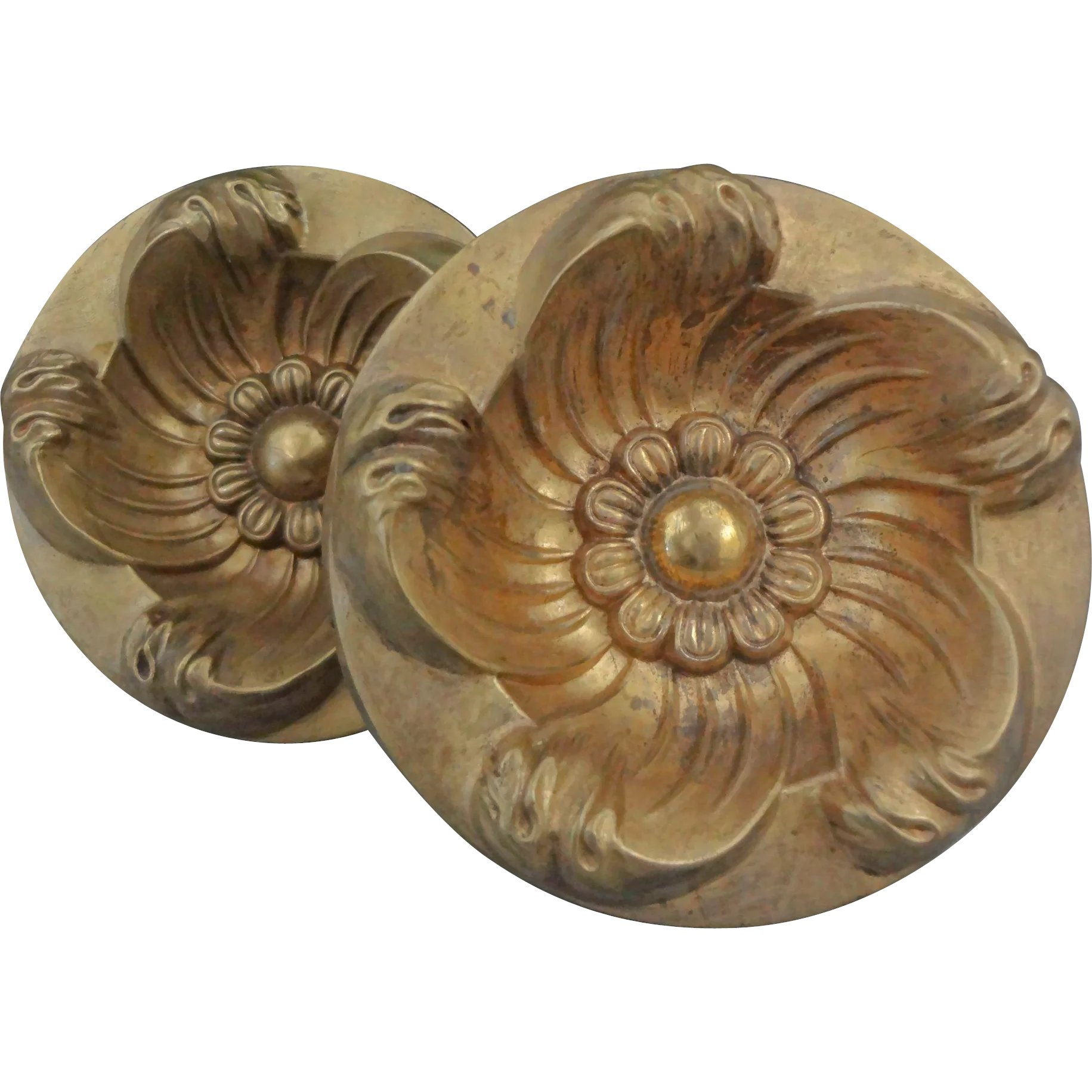 Antique Bronze Curtain Tie Backs Pair Of Gilt Bronze Curtain Tiebacks Circular Floral Design