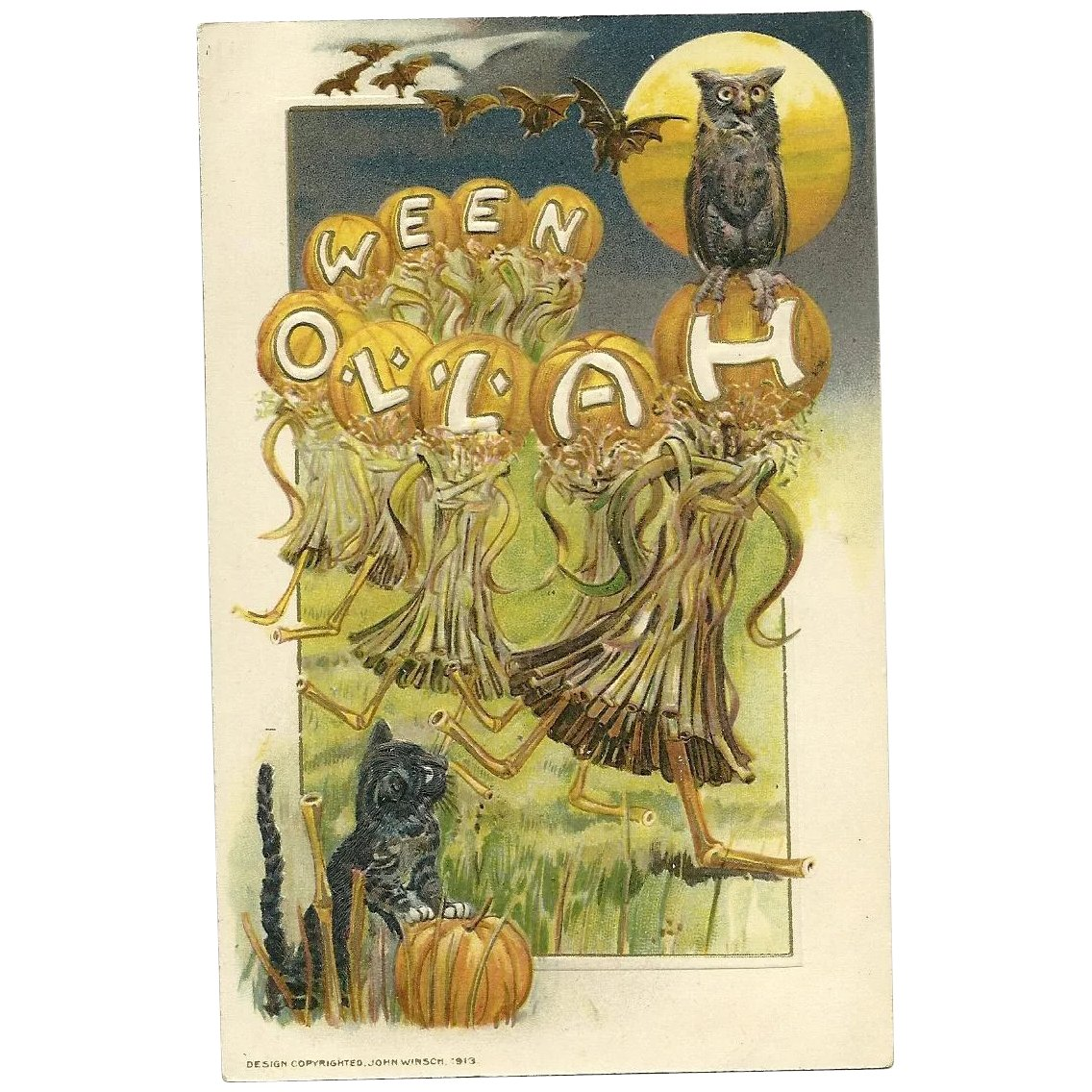 Halloween Schmuck 1914 Samuel Schmucker Artist Sign Halloween Postcard Black