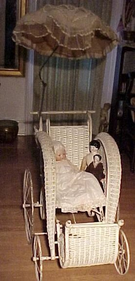 Doll Stroller Vintage Victorian Wicker Stick And Ball Stroller For Child Or