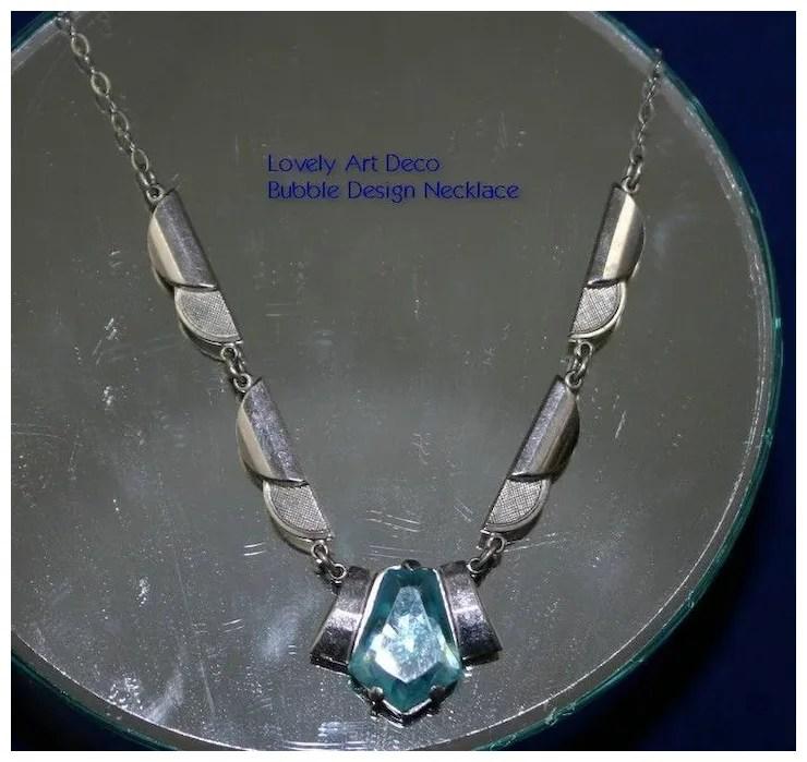 Architectural ART DECO Bubble Design Necklace with Aqua Stone  Deja