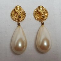 Monet large simulated pearl drop clip earrings : Green
