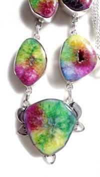 Rainbow Colored Agate Druzy Necklace/Mystic Topaz Earrings ...