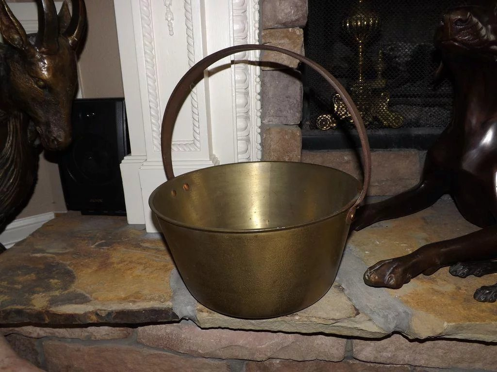 Antique Brass Fireplace Pot E3 Antiques Ruby Lane