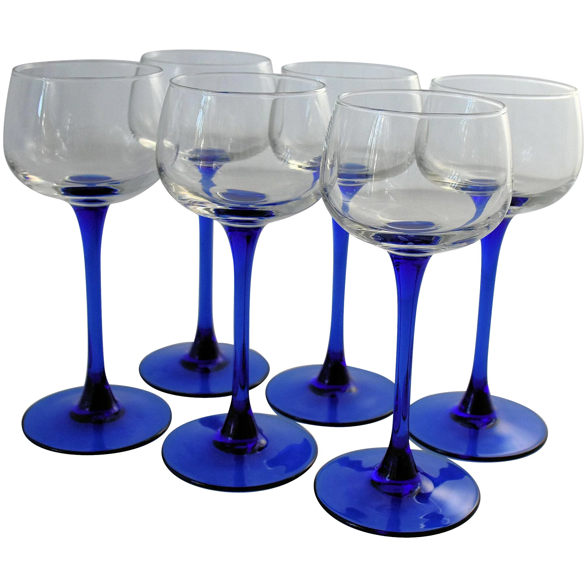 Luminarc Glass Luminarc Crystal Wine Glasses Cobalt Blue Sapphire Stems Made In France J G Durand Set Of Six