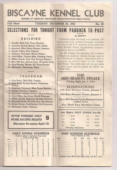 Biscayne Dog Track Official Racing Form Program 1952  Milkweed