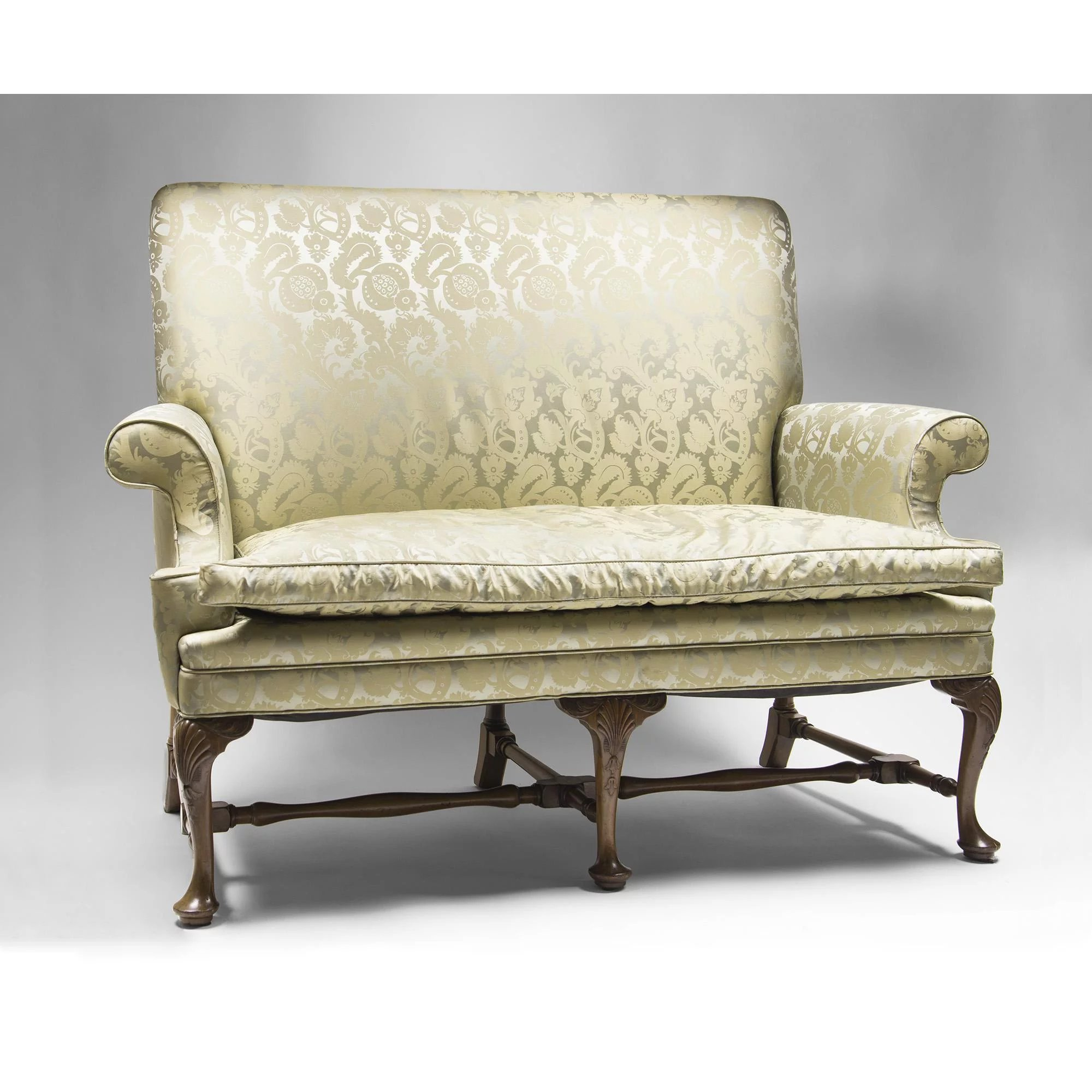 Sofa Queen Anne 19th C Queen Anne Style Highback Hall Settee