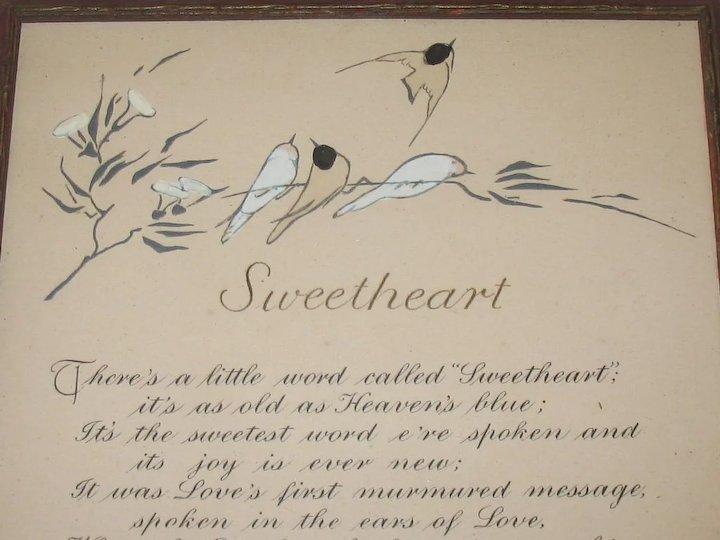 Vintage Sweetheart Small Romantic Motto Print with Hand Coloring of