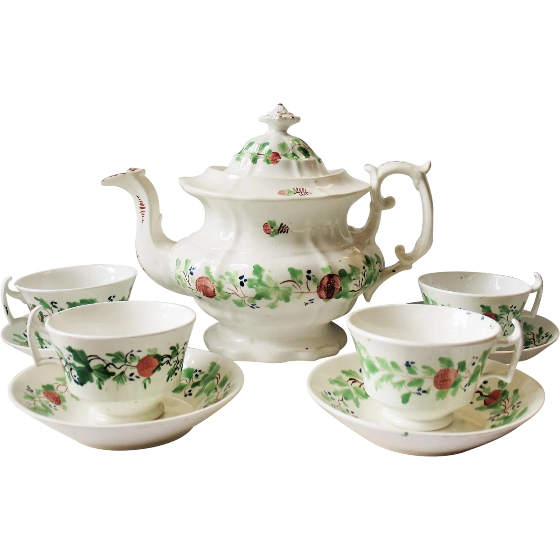 Teapot With Cup Staffordshire Soft Paste Strawberries Teapot Cups Saucer Tea Set
