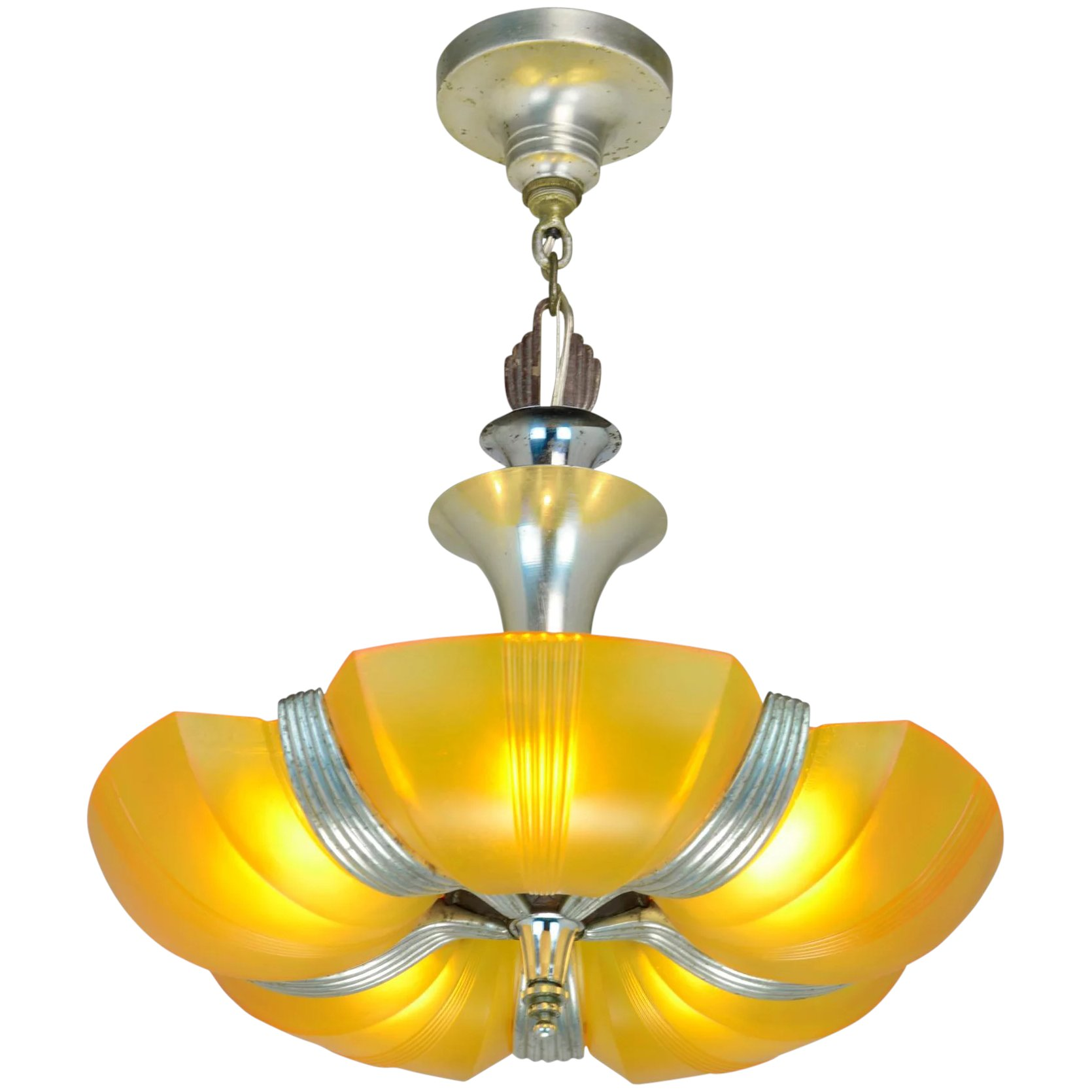 Art Deco Style & Light Streamline Art Deco Slip Shade Chandelier Ant 1043
