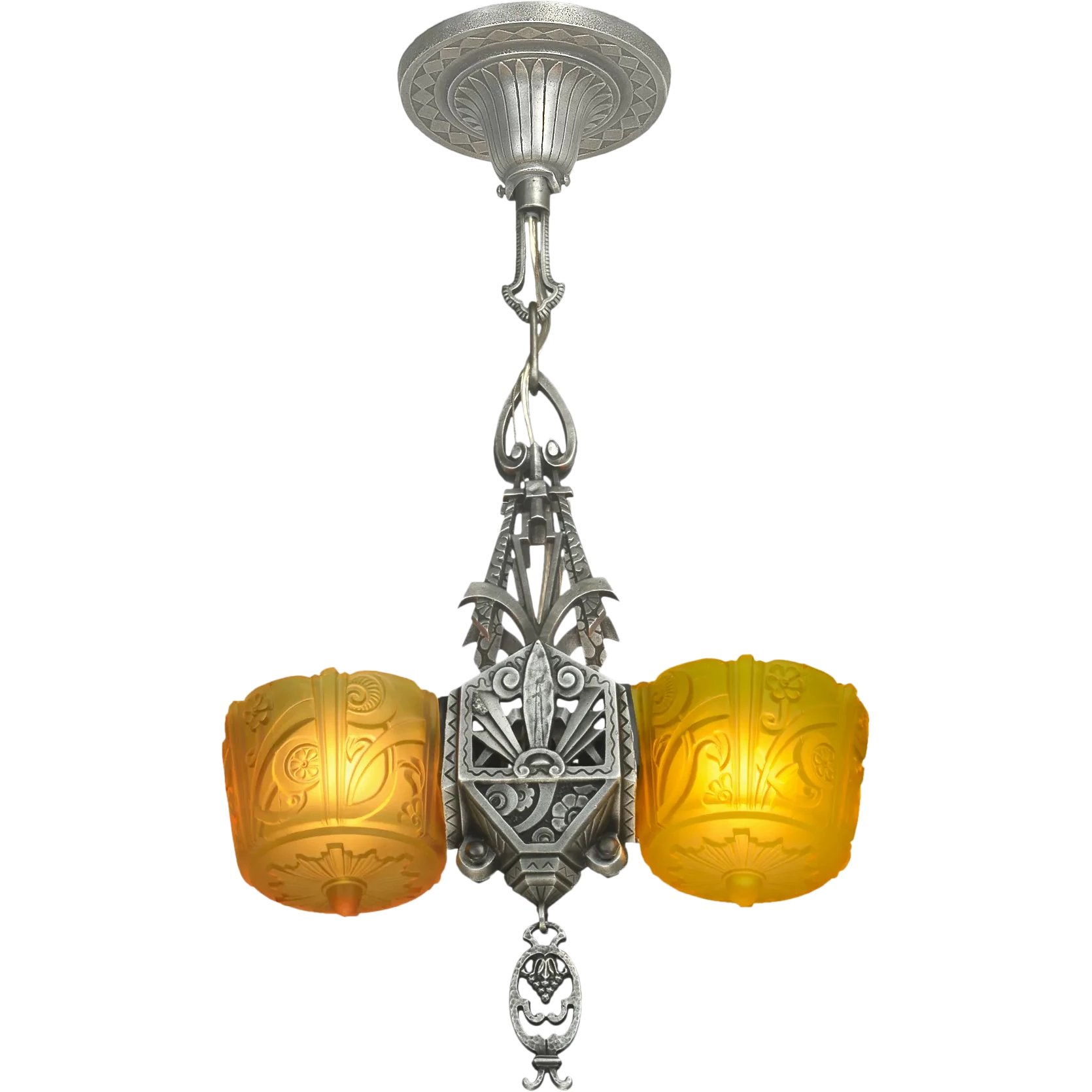 Art Deco Style & Light Antique Art Deco Slip Shade Light Lincoln Triangle Pendant Ant 1106