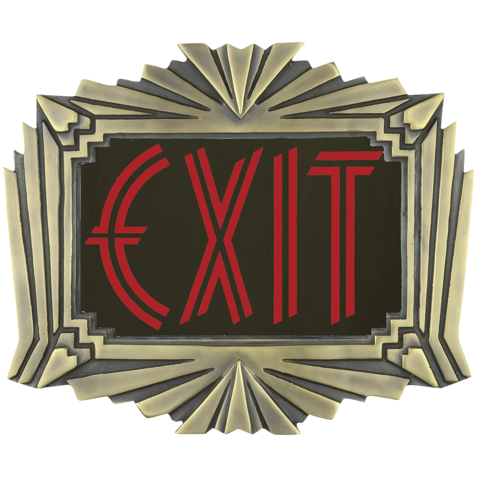 Art Deco Style & Light Theater Or Commercial Fancy Solid Brass Art Deco Style Exit Sign Ext 422r