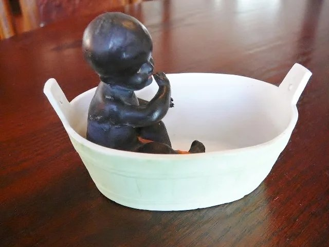 Baby Cradle Hanging Toys Black All Bisque Baby Oil Lamp Swinger In Tub