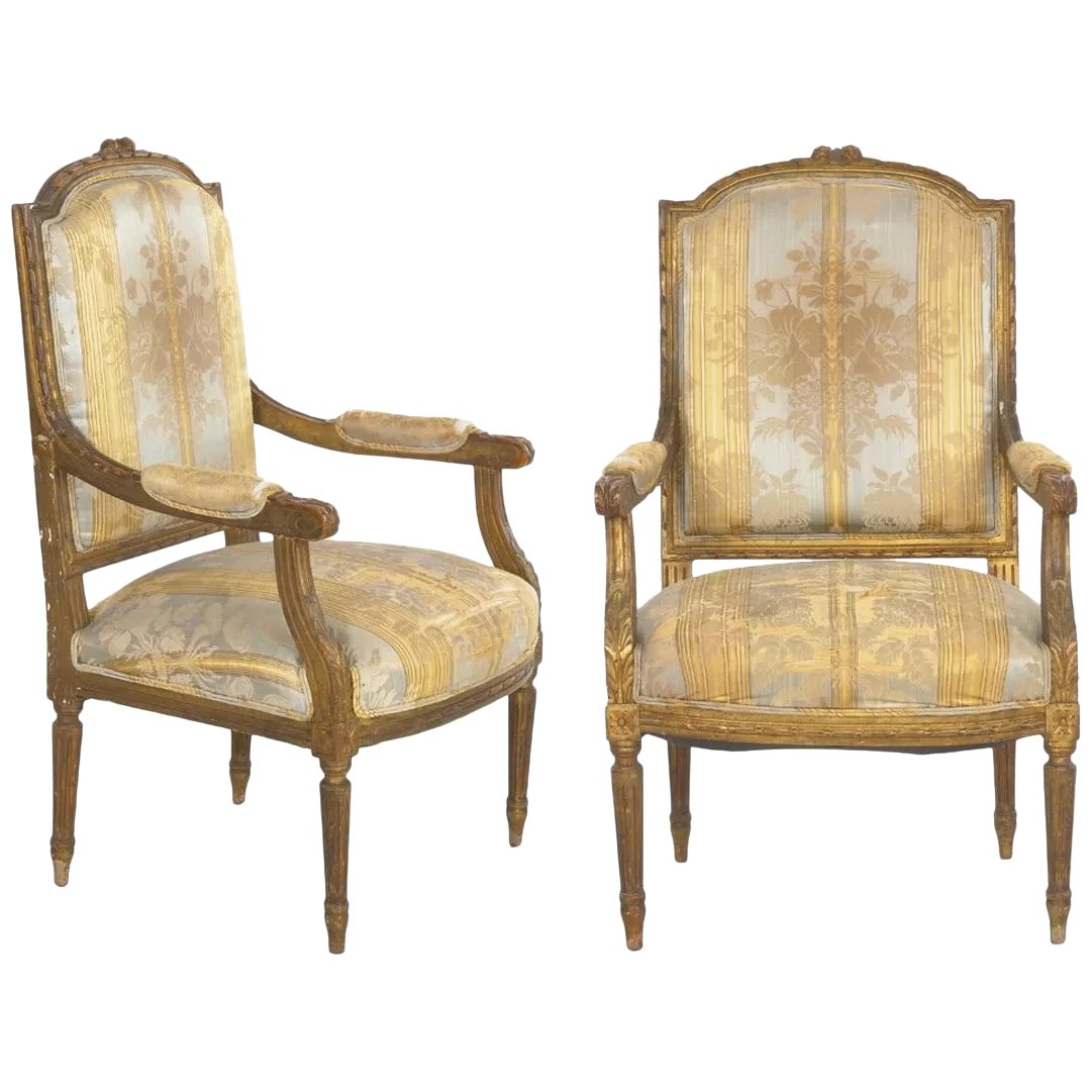 Pair Of French Louis Xvi Style Antique Fauteuil Arm Chairs 20th Silla Ltd Ruby Lane