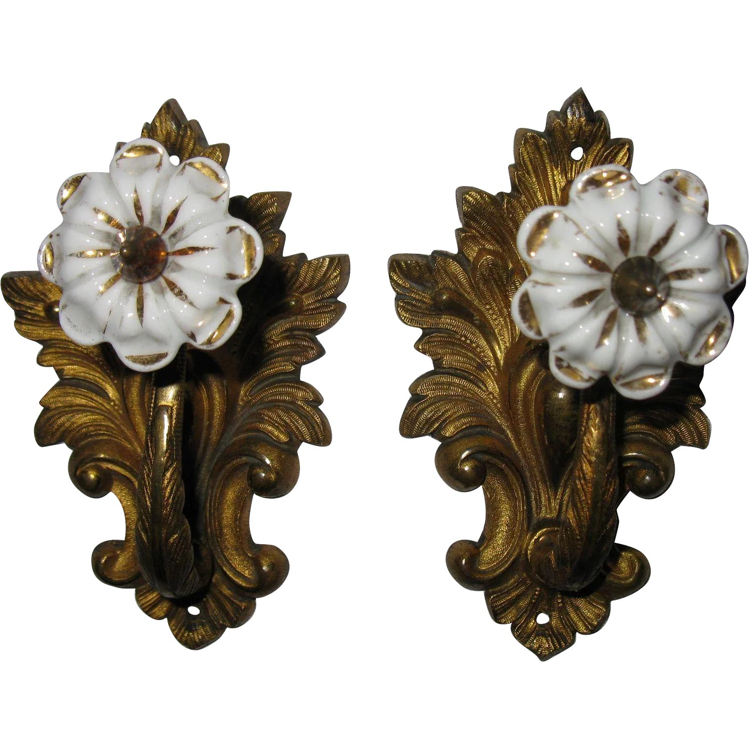 Antique Bronze Curtain Tie Backs Pair Of Antique French Drapery Curtain Tiebacks Gold Ormolu